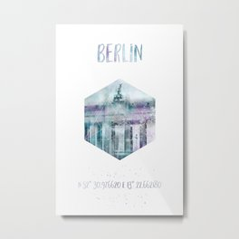 Coordinates BERLIN Brandenburg Gate   jazzy watercolor Metal Print