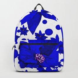 Poinsettia Blue Indigo Pattern Backpack