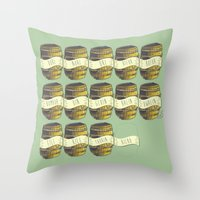 nori Throw Pillows featuring 13 barrels - Hobbit by KanaHyde