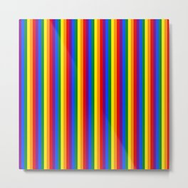 Mini Verticle Gay Pride Rainbow Beach Stripes Metal Print