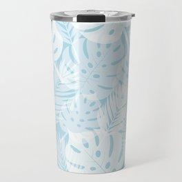 Tropical Shadows - Light Blue / White Travel Mug