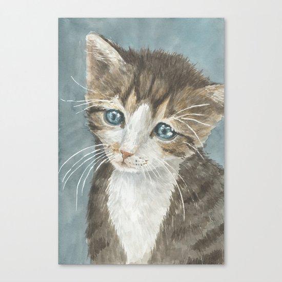 Kitten, watercolor potrait Canvas Print