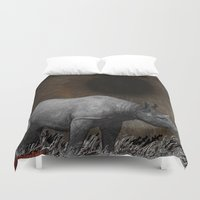 rhino Duvet Covers featuring RHINO by zinakorotkova