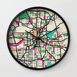 Colorful City Maps: Kansas City, Missouri Wall Clock