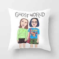 ghost world Throw Pillows featuring Ghost World Enid and Rebecca  by Highly Anticipated