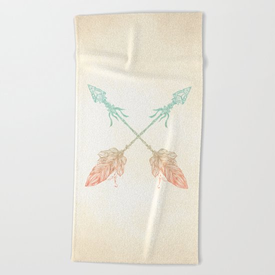 Tribal Arrows Turquoise Coral Gradient Beach Towel