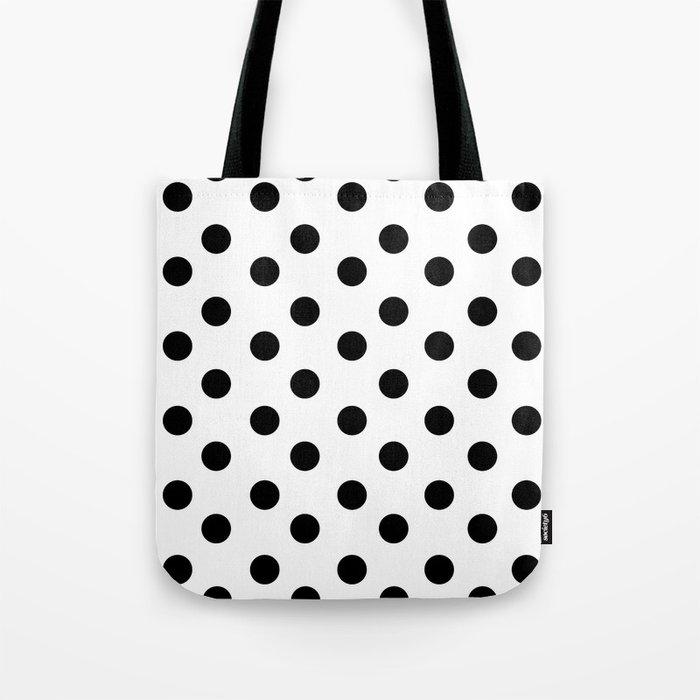 White Black Polka Dots Tote Bag By