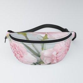 Elegant modern blush pink green carnations floral Fanny Pack