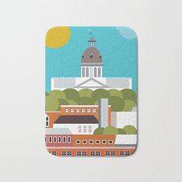Columbia, South Carolina - Skyline Illustration by Loose Petals Bath Mat