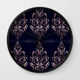 Classic Rose Blush Swirls on Navy Distressed Background Wall Clock