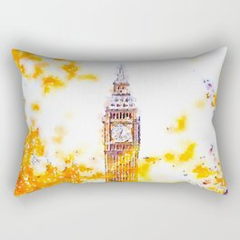 Big Ben in London with Colorful Yellow Autumn Fall Trees Watercolor and Ink Painting Print Rectangular Pillow