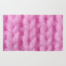 Pink Wool Knitting Texture Rug
