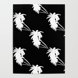 Palm Tree Pattern Black and White Poster