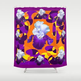 #2Colorful Modern Purple White Iris Orange Yellow Black Design Shower Curtain