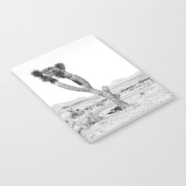 Vintage Desert Scape B&W // Cactus Nature Summer Sun Landscape Black and White Photography Notebook