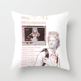 YOU WILL NOT SURVIVE EVANGELION - SAD JAPANESE ANIME AESTHETIC Throw Pillow