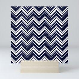 Maritime pattern- chevron - white and darkblue Mini Art Print