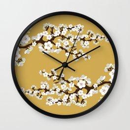 Japanese Sakura Cherry Blossoms (gold) Wall Clock