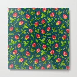 Strawberries Galore (pattern on Sea Blue-Green) Metal Print