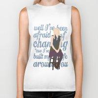 glee Biker Tanks featuring Brittana - Glee - Brittany Pierce [Solo] Landslide typography minimalist design by Hrern1313