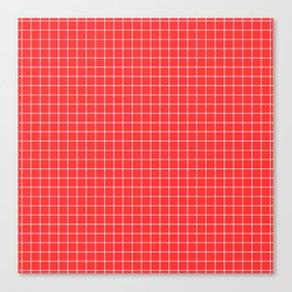 Coral with White Grid Canvas Print