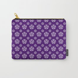 Dark Purple White Pentacle Pattern Carry-All Pouch