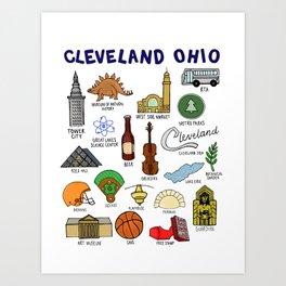 Cleveland Ohio Icons Art Print