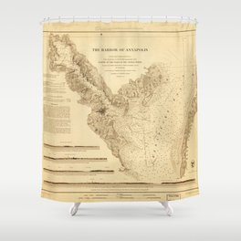 Map of the Harbor of Annapolis (1846) Shower Curtain