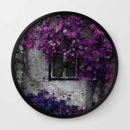 Purple Floral Orchid Vines, Window and Gray Stone Wall Clock