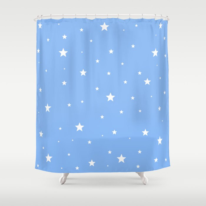 Scattered Stars On Sky Blue Shower Curtain