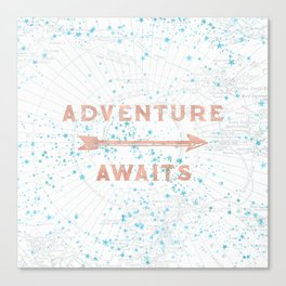 Adventure Awaits Rose Gold Canvas Print