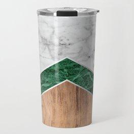 Arrows - White Marble, Green Granite & Wood #941 Travel Mug