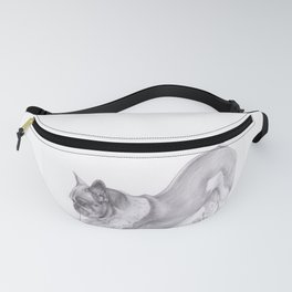 Drawing of Dog - Pug Stretching by moiimran Fanny Pack