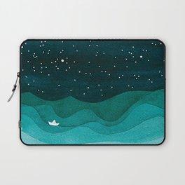 Starry Ocean, teal sailboat watercolor sea waves night Laptop Sleeve