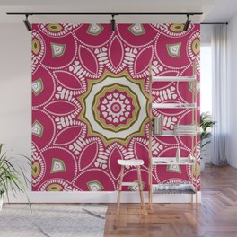 Geometric Mandala - Deep Pink Red Wall Mural