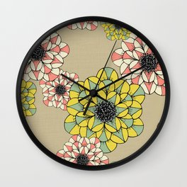 Pink and Yellow Abstract Sketch Flowers Illustrated Pattern Wall Clock