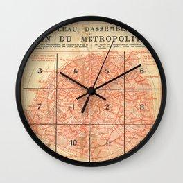 Vintage Paris City Centre Map Wall Clock