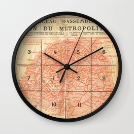 Vintage Paris City Centre Map Wall Clock