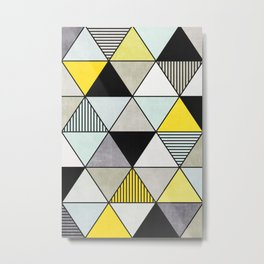 Colorful Concrete Triangles 2 - Yellow, Blue, Grey Metal Print