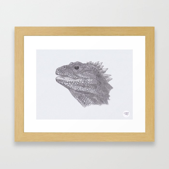 Happy Tuatara Sketch Framed Art Print