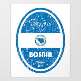 World Cup Football - Bosnia and Herzegovina (Distressed) Art Print