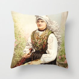 Romanian Gypsy girl Throw Pillow