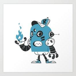 Fire Robot Art Print