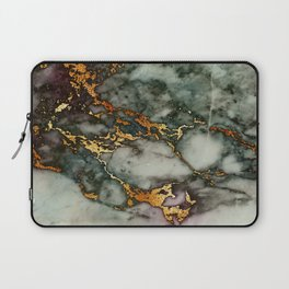 Gray Green Marble Glitter Gold Metallic Foil Style Laptop Sleeve