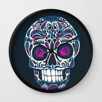 calavera Wall Clocks featuring Calavera IV by Craig Watkins