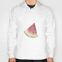 watermelon Hoodies featuring Watermelon by Jill Byers