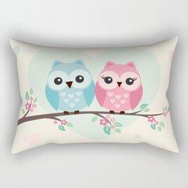 Cute owls on a branch Rectangular Pillow