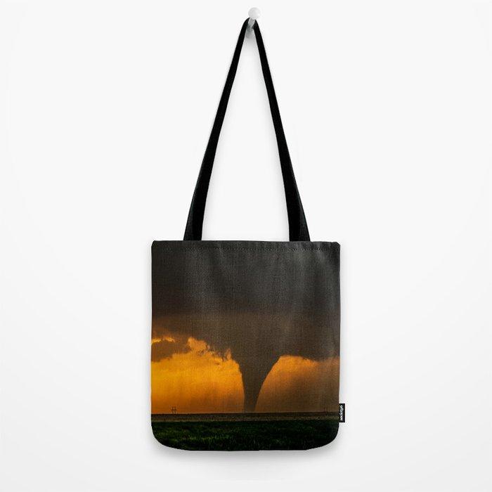 Silhouette - Large Tornado at Sunset in Kansas Tote Bag