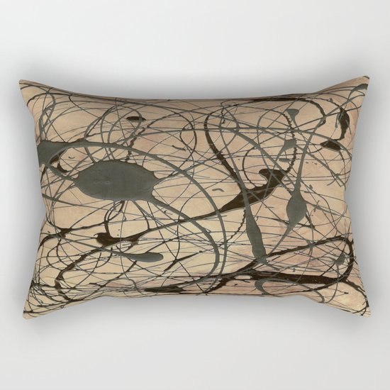 Pollock Inspired Abstract Black On Beige Rectangular Pillow