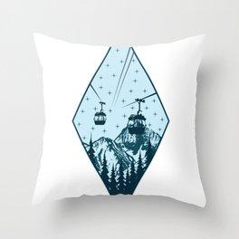 Gondola mountains tree nature star night gift Throw Pillow